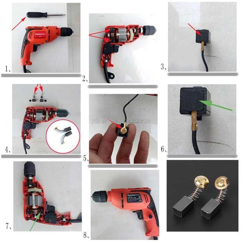 2 قطعة فرشاة الحفر الكهربائية الكربون قطع غيار ديوالت/لبوش/لماكيتا ElectricTool 6X7X13mm 021 # Whosale & دروبشيب