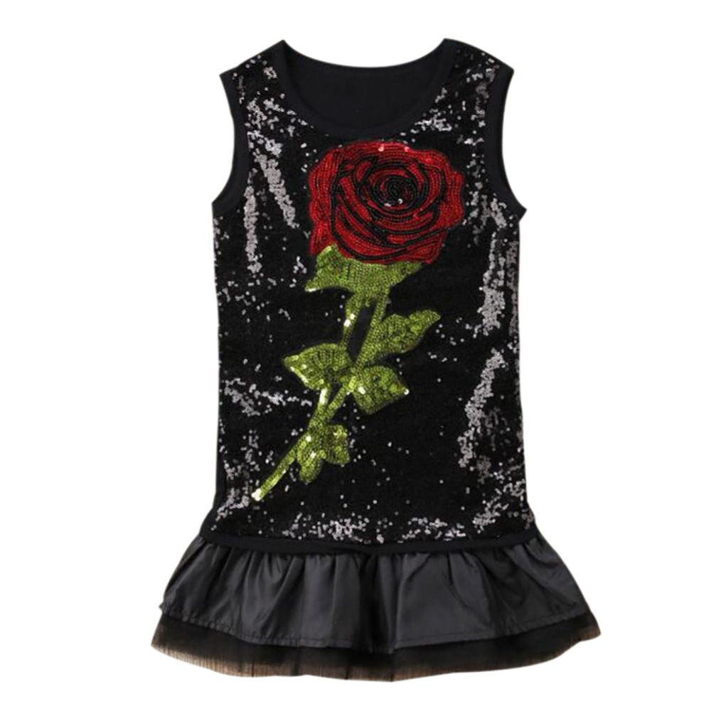 Summer Kids Children Clothing   Flower     Girl     Dress   Rose Mesh   Dress   Sleeveless ClothesA1