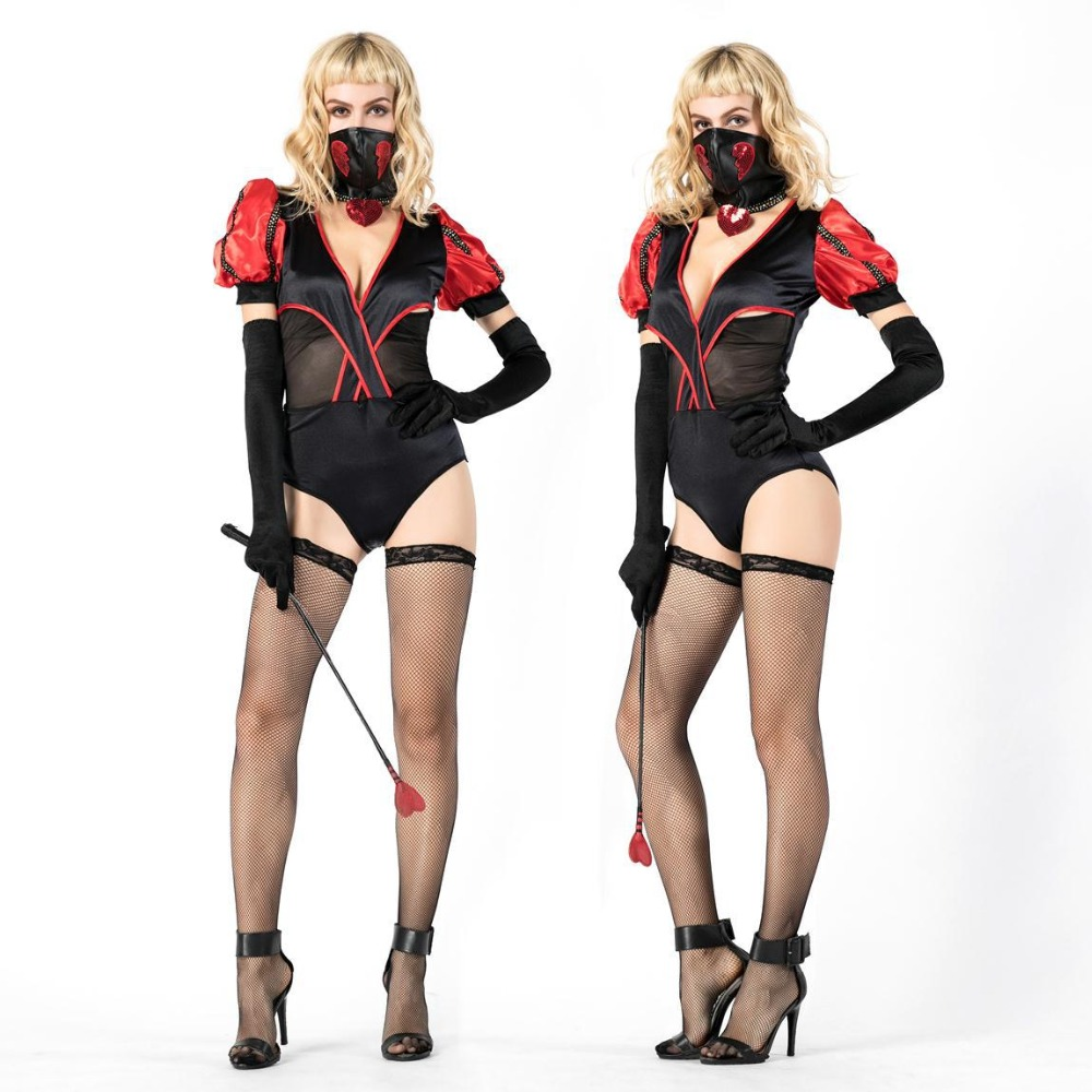 Hot sexy ninja costume with mask women circus animal trainer costume carnival halloween magician cosplay stage performance dress