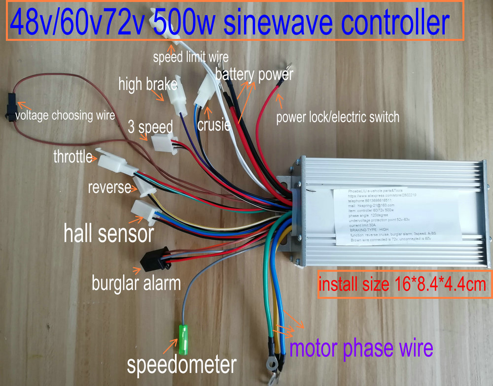 48/60V/72v 500w sinewave controller BLDC MOTOR CONTROLLER 12mosfet for electric scooter ebike MTB TRICYCLE NO self learning wire free shipping sinewave controller