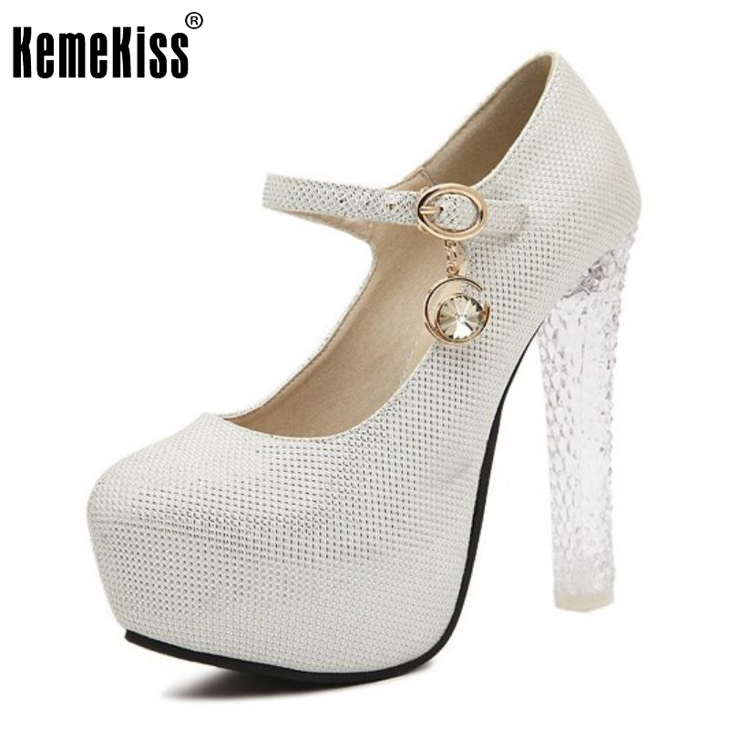 Lady Stiletto Ankle Strap Wedding Shoes Women Fashion Thick Crystal High Heels Inside Platform Court Shoes Size 34-39 women wedding shoes suede pump high heels ol lady office shoes pointy chic court stiletto candy color party classic shoes