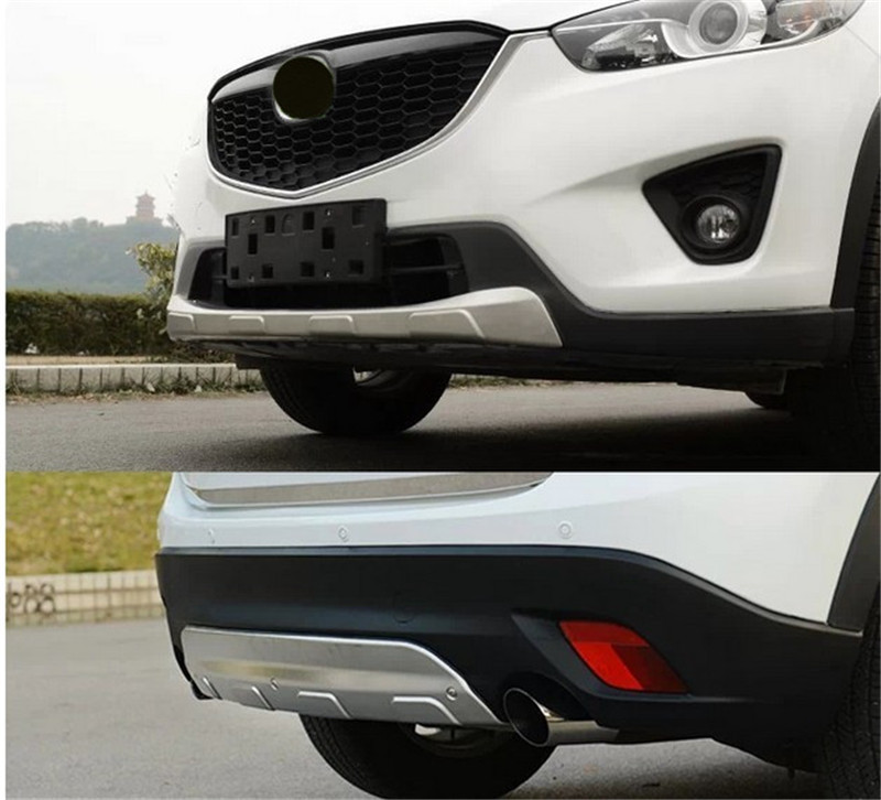 Stainless steel front and rear Bumper Protector Skid Plate cover FOR Mazda CX-5 CX5 year 2012 2013 2014 2015 2016 Car stylingStainless steel front and rear Bumper Protector Skid Plate cover FOR Mazda CX-5 CX5 year 2012 2013 2014 2015 2016 Car styling