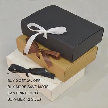10pcs Customer Gift Box Kraft Large Gift Packaging Box With Ribbon White Gift Packing Boxes Cardboard Paper Carton Box