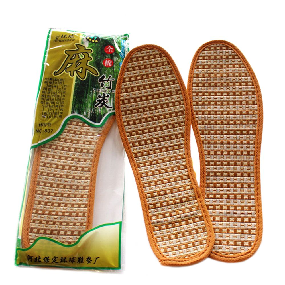 New Men Women Hand-Woven Bamboo Charcoal Linen Insoles Sports Breathable Deodorant Anti-Bacterial Insoles Comfortable Insolesad