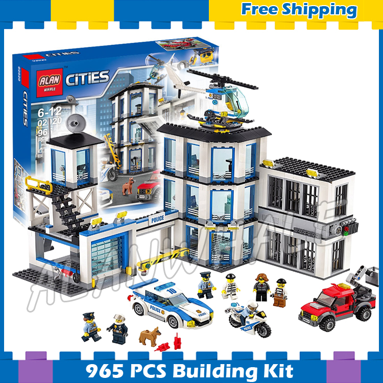 965pcs City Police Station Base Construction Model Building Blocks 02020 Assemble Children Gifts sets Movie Compatible With Lego полотенца lego пончо city construction