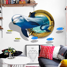 3D Cute Dolphin Wall Sticker Bedroom Living Room Study Dormitory Background decorative painting pvc Removable wallpaper