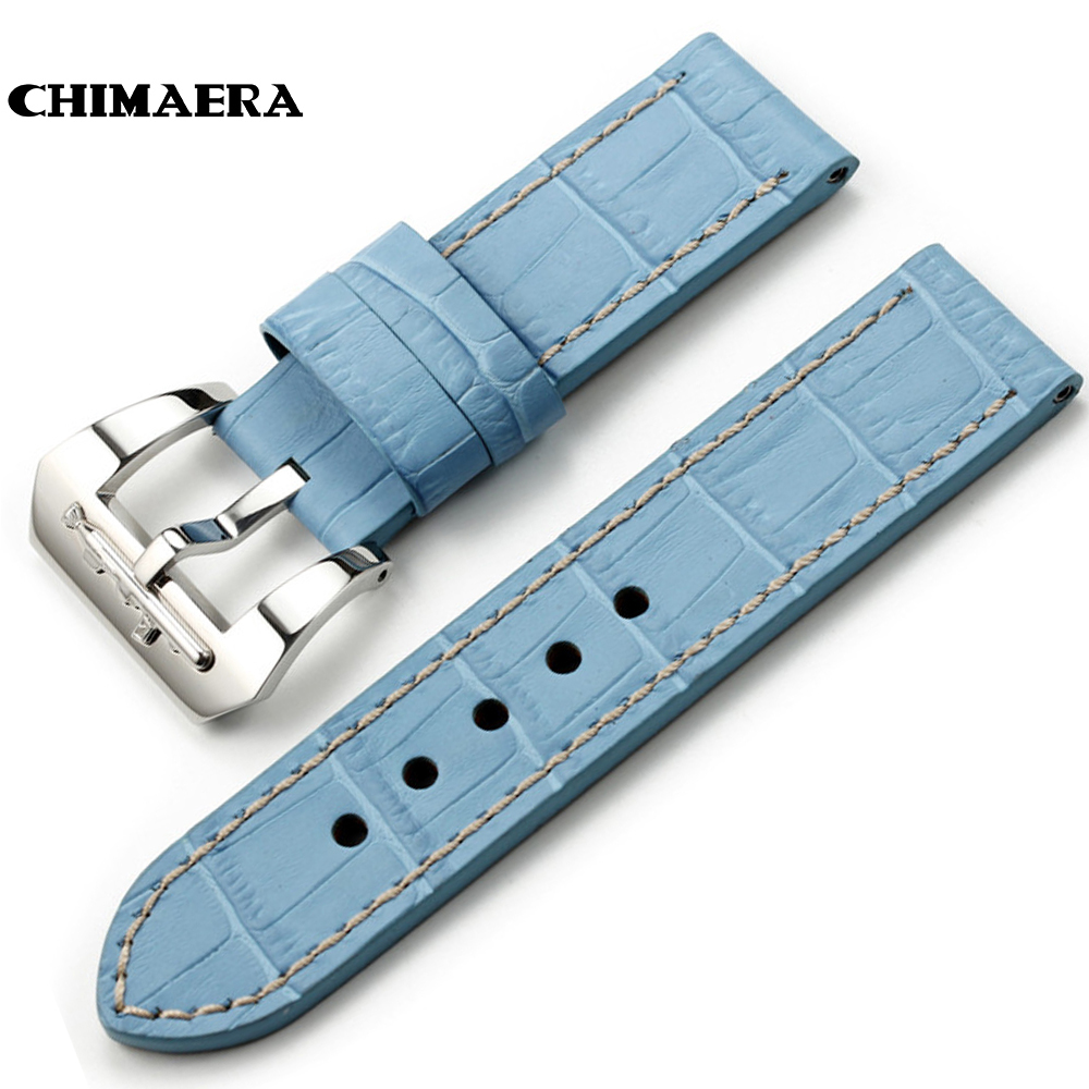 CHIMAERA Light Blue Genuine Leather Watchband Watch Strap 24mm Band for PANERAI 44mm Luminor Cases Handmade Alligator Grain Band 24mm handmade black red stitched genuine calf leather watch strap band for deployment buckle watchband strap for panerai pam