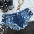Summer Fashion Lace-Up Sexy Hole Skinny Super Short Shorts Jeans Denim Thong Shorts Women Denim Booty Shorts Beach Hotpants
