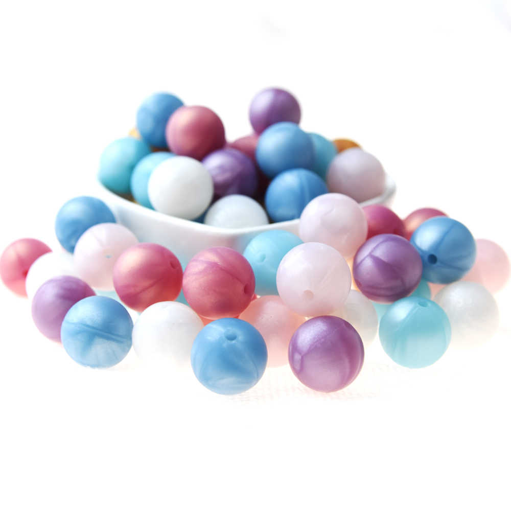 Happyfriends 10PCS/lot 12mm 15mm Fashion Pearl Color Silicone Beads Baby Teether Toys Necklace Bracelet Jewelry Making