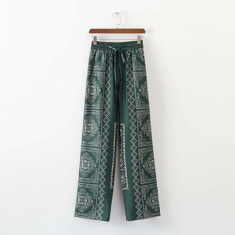 Trousers Wide-Tube Printing Fashion Women European And American XD40-1183 Leisure