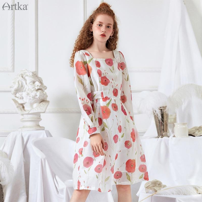 ARTKA 2019 primavera mujeres vestidos Vintage Vestido de manga larga A Line cinturón medio longitud mujeres vestido flor vestidos LA10492C-in Vestidos from Ropa de mujer    1