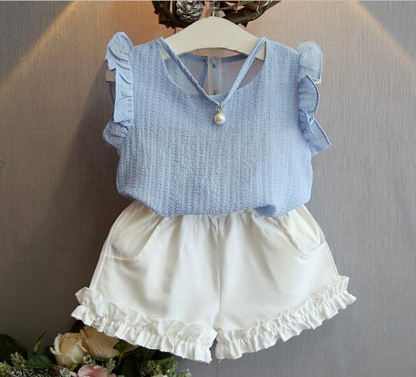 d24ac18075e520 Girl Clothing Set 2017 Baby Girls Summer Korean Fashion, Pearl sleeveless  Blouse+Shorts Suits