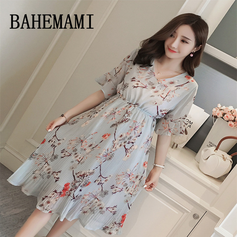 BAHEMAMI Maternity dress new 2018 summer Pregnancy clothing V-neck chiffon Maternity print pleated dresses for Pregnant Women stylish v neck batwing sleeve solid color pleated blouse for women