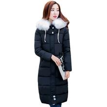 Tengo Новая Зимняя Женская Куртка Хлопка Большой Меховой Длинные Теплые Пальто Женщин Тонкий Пиджак