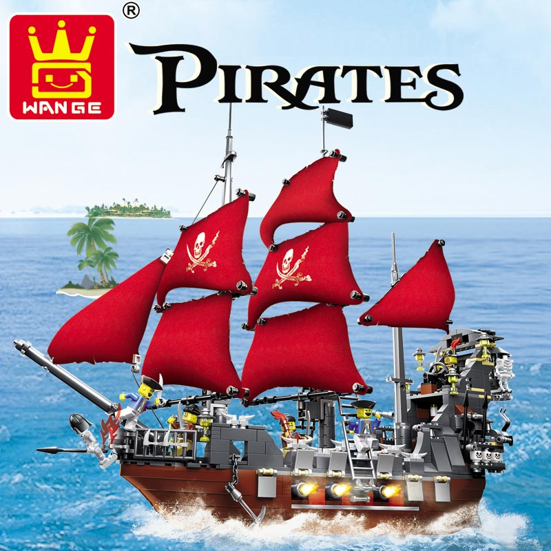 Wange Brand 1123pcs Large Pirates Building Blocks Pirates Of The Caribbean Queen Anne's Revenge Model kazi 608pcs pirates armada flagship building blocks brinquedos caribbean warship sets the black pearl compatible with bricks