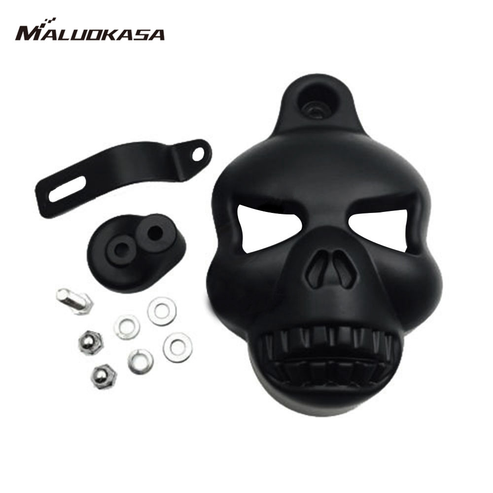 MALUOKASA Motorcycle Skull Horn Cover Stock Cowbell Cover For Harley Davidson Stock Cowbell Motorcycles Harley V-ROD'S 1992-2014  цена