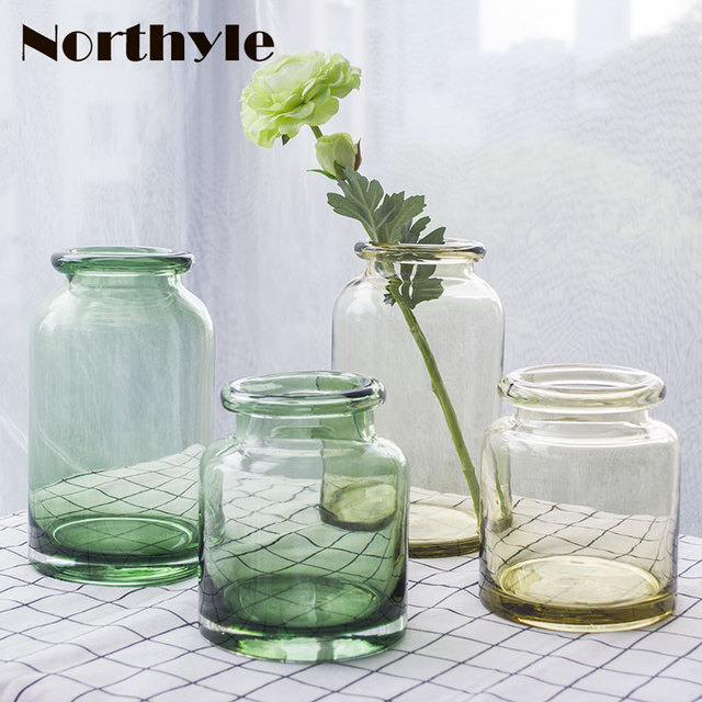 Traditional Green Glass Floor Vase Home Decoration Clear Sandy Beige