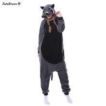 2017 New Abu-abu Rakun Coon Pajamas Cosplay Costumes Animal Onesies Pyjama Unisex Sleepsuit Dewasa Pakaian Tidur Jumpsuit(China)