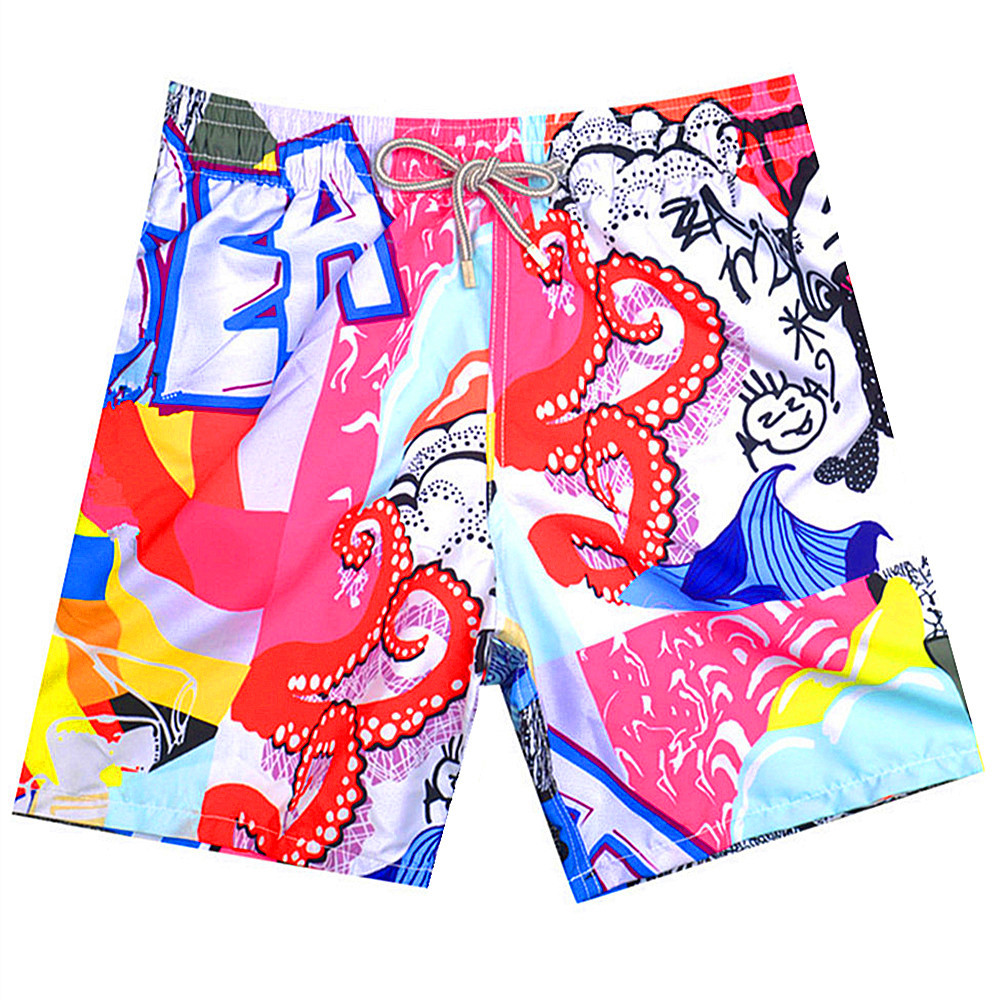 2019 Brand BREVILE PULLQUIN   Board     Shorts   Men Turtle HD Printing Beach   Shorts   Sexy Gay 100% High Quality Quick Dry Male Swimwear