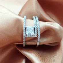 2019 Luxury Micro Inlaid Zircon Silver Rings for Women Fashion Jewelry Wedding Anel Square CZ Ring Engagement Statement Anillos