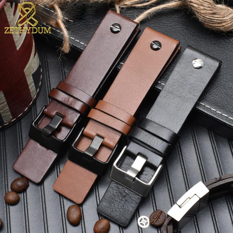 Genuine Leather Bracelet Watchband 22 24 26 28 30mm Watch Strap With Rivet For Diesel DZ7406 DZT2009 DZ7413 DZ7257 Watch Band