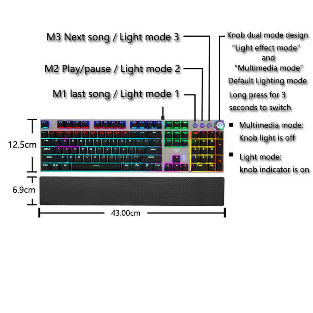 AULA ゲーミングメカニカルキーボード 104 キー有線バックライト金属抗ゴーストコンピュータ Pc 英語ロシア語スペイン語アラビア