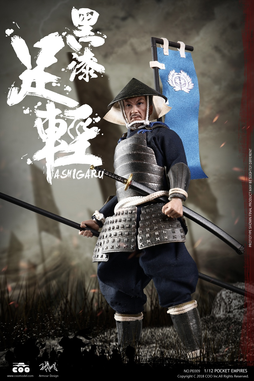 COOMODEL Japanese Samurai Soldier BLACK ARMOR ASHIGARU 1/12 Figure-in Action & Toy Figures from Toys & Hobbies    1