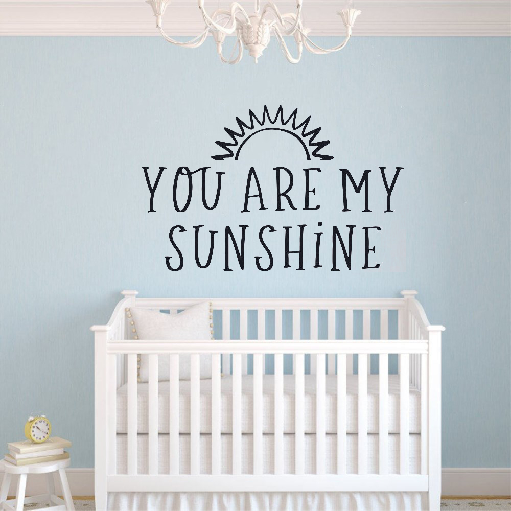 JOYRESIDE You Are My Sunshine Room Decoration Kids Art Removebale Poster Nursery Mural Baby Bedroom Quote Sticker Decel LY07