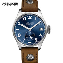 AGELCOER Designer Mens Dress Watch Automatic Mechanical Calendar Role Watches Male Leather Blue Black Dial Simple