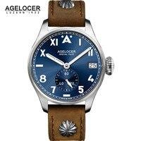 AGELCOER Diseñador Para Hombre Vestido Reloj Mecánico Automático Calendario Función Relojes Masculinos de Cuero Azul Negro Dial Simples Relojes de Pulsera