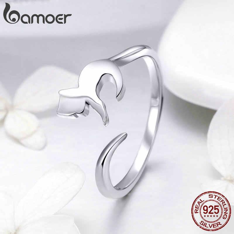 Bamoer 925 prata esterlina adorável gato cauda longa anéis de dedo para as mulheres tamanho ajustável casamento noivado jóias presente scr420
