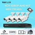 Wanlin sistema de cctv 4ch 1080 p ahd ahd dvr kit 4 pcs sony imx323 2.0mp à prova d' água ao ar livre sistema de segurança de vigilância por vídeo câmera