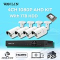 Wanlin sistema de cctv 4ch 1080 p ahd ahd dvr kit 4 unids sony imx323 2.0mp impermeable al aire libre sistema de video vigilancia de seguridad cámara