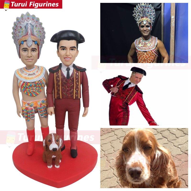Statuette design pour indiens et chiens figurines vêtements personnalisés indien tribal costume traditionnel figurine miniatures sculptur