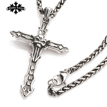 Gothic Punk Cross Pendants for men Skull and Rome letter Vintage long necklace Fashion Jewelry