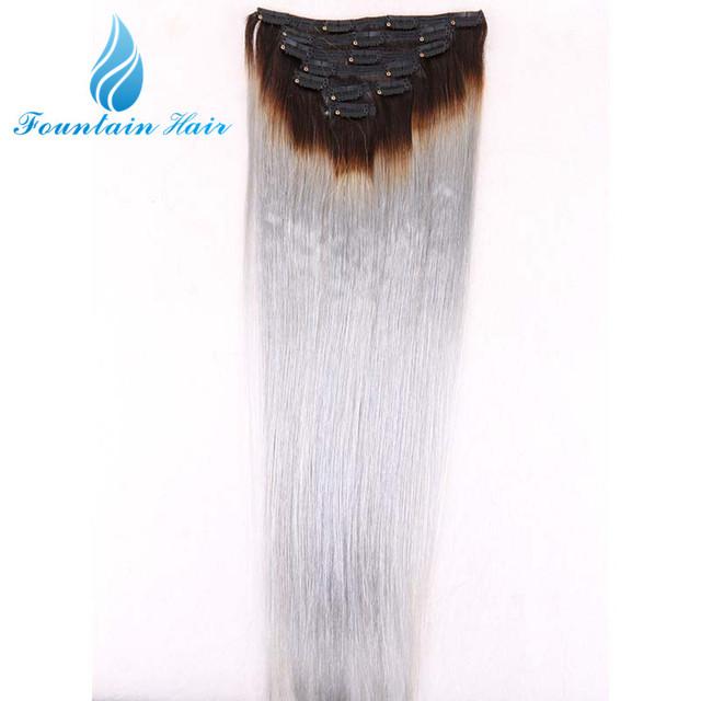 Remy indiano virgem Ombre grampo em extensões de cabelo humano 7 pçs/lote reta 1B / cinza Top 7A cabelo humano Clip100g / Bundle nenhum emaranhado