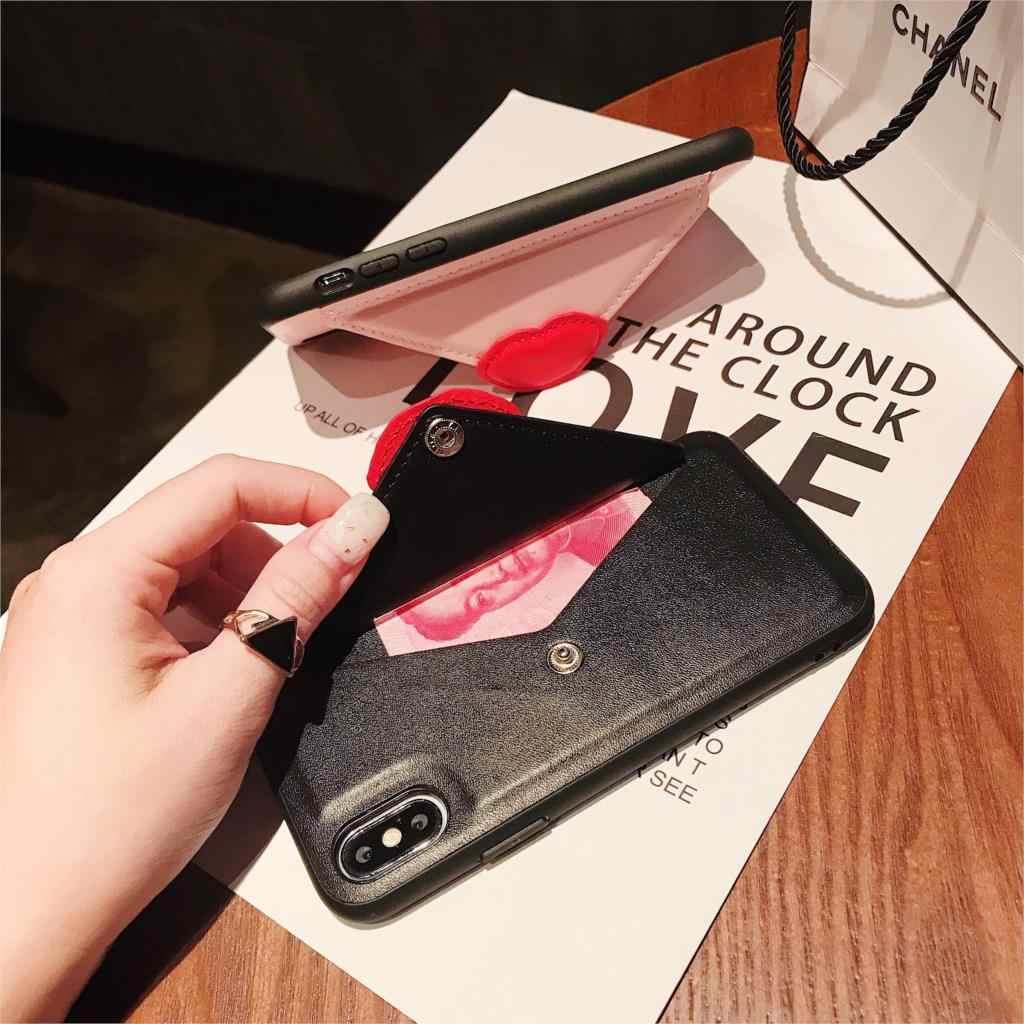 Haissky Đôi Môi Gợi Cảm Sách Bao Da Ốp Lưng Điện Thoại Dành Cho iPhone XS Max XR X Bao Da Ví Da Lộn Cho iPhone 6 6 S 7 8 Plus Coque CapA