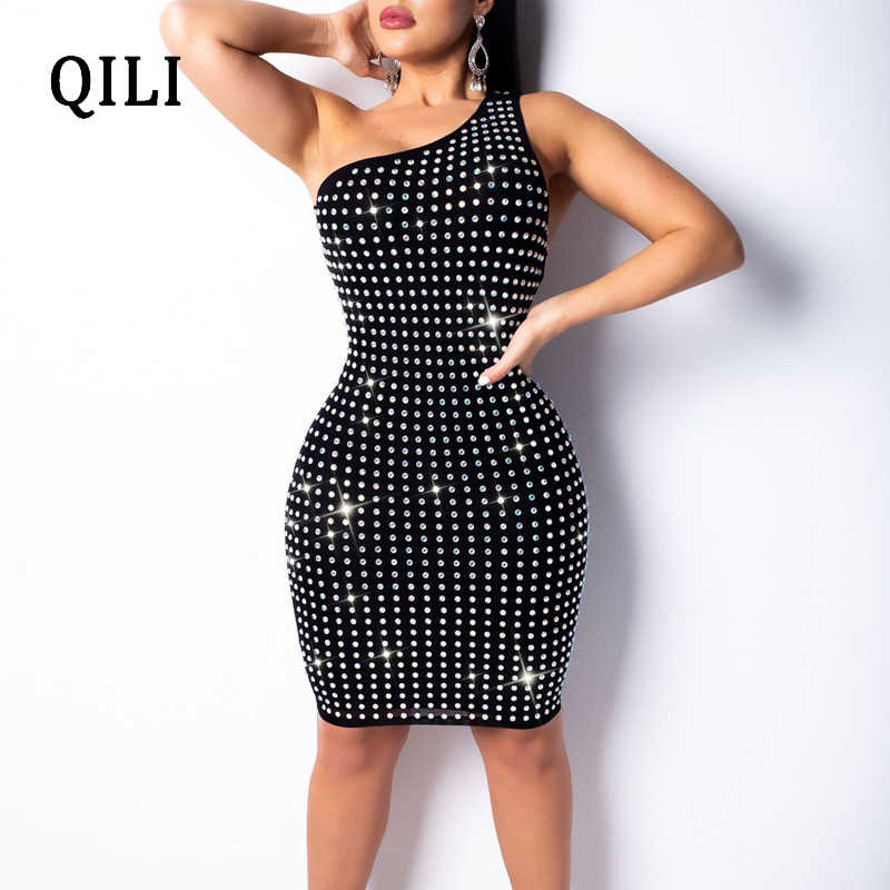 QILI One Shoulder Women Dress Diamonds Rhinestone Sleeveless Sexy Back Hollow Out Dresses New Fashion Bodycon Dress Black Khaki