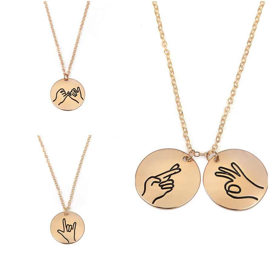 Ручной штамп I Love You мизинец клястье руки жесты ожерелье знак язык сестра Подвеска для лучших друзей ожерелье Дружба Ювелирные изделия