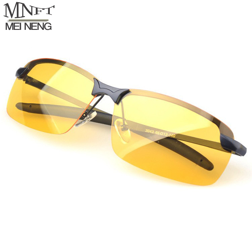MNFT Mens Silver/Black Alloy Frame Driving Outdoor Sport Fishing Glass Night Version