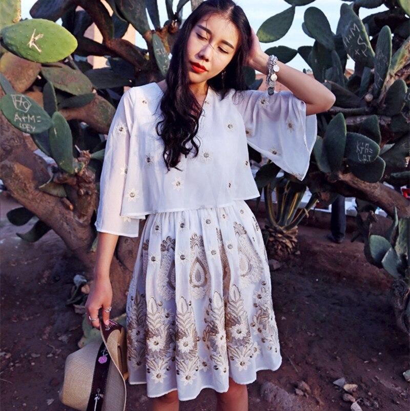 MAIXU Новое поступление весна лето женское Милое сексуальное платье с расклешенным рукавом с v образным вырезом Роскошная вышивка повседневн...