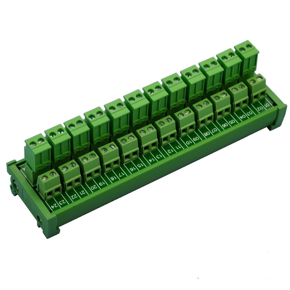 Electronics-Salon DIN Rail Mount Pluggable 12x2 Position 10A/300V Screw Terminal Block Distribution Module. (Side Wire Connects)