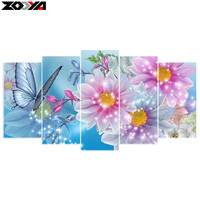 Zhui Star 5d Diy Diamond Embroidery Butterfly Flower 5PCS Diamond Painting Cross Stitch Full Drill Rhinestone