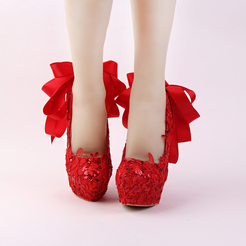 b4445cb1a51a Handmade Red Lace Bride Shoes Fashion Glitter Stiletto Heel Wedding Dress  Shoes with Ribbon Bow and Rhinestone Heel Women Pumps-in Women s Pumps from  Shoes ...