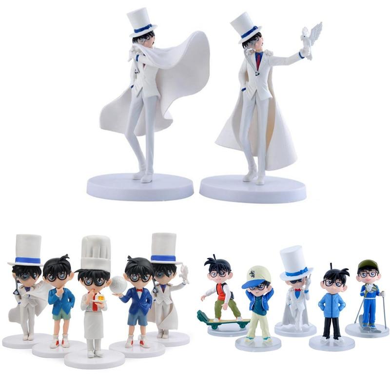 5pcs/lot Detective Conan PVC Action Figure Toys 2pcs/set Kaitou Kid Model Collection Anime Doll For Kid Children Gift