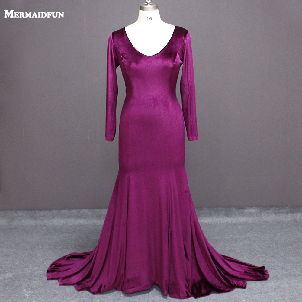 2018 Real Photos Purple Velvet Long Sleeve Mermaid Sexy Deep V Neck Plus Size Evening Dresses Robe De Soiree Evening Gown