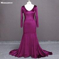 2019 Real Photos Purple Velvet Long Sleeve Mermaid Sexy Deep V Neck Plus Size Evening Dresses Robe De Soiree Evening Gown