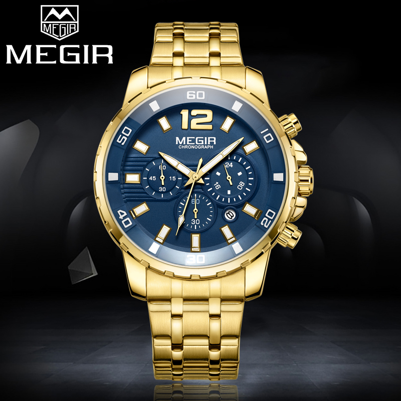 2018 MEGIR New Brand Mens Gold Sport Watch Men Casual Business Quartz Watches Man Waterproof Chronograph Clock Relogio Masculino mige 2017 new hot sale lover man watch rose gold case white casual ultrathin waterproof relogio masculino quartz mans watches