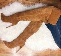 Коричневые замшевые женские ботфорты в ботинки до колен на высоком каблуке Острый носок высокие сапоги с боковой молнией Tight Высокие сапоги