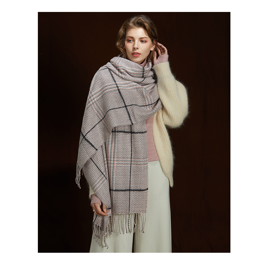 2019 New Winter Autumn Wool Knitted Women Scarf Plaid Warm Cashmere Scarves Shawls Luxury Brand Neck Lady Wrap High Quality (6)